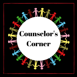 picture with drawings of people in a circle with the words counselor's corner in the midst of them
