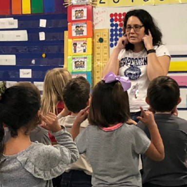Full day Kindergarten teach with students